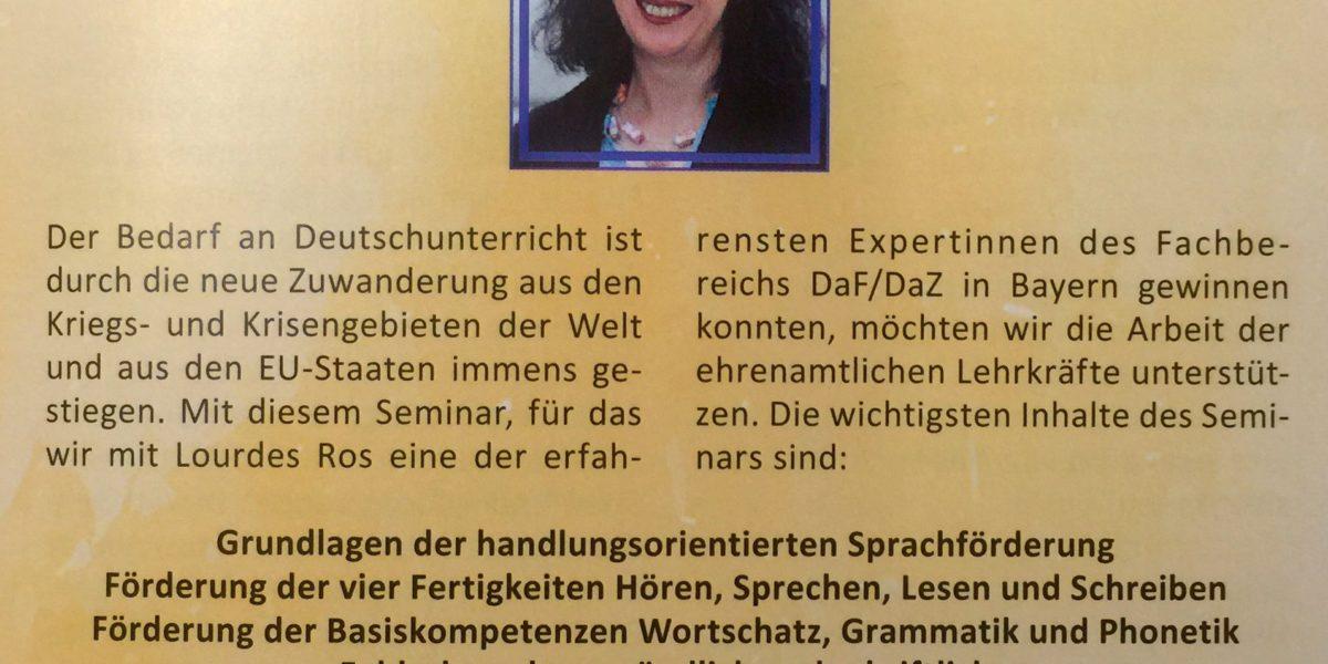 Seminar ,,praktische Anregungen zur ehrenamtlichen Deutsch-Förderung´´ für Lehrkräfte in Kempten.